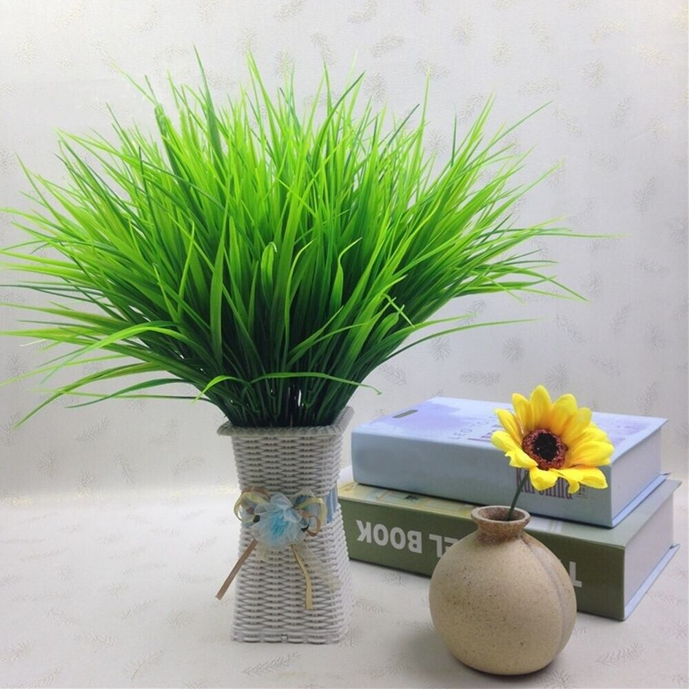 Home Decoration - Clover Home Decor 7 Branches Green Leaves Fake Flower Plant Artificial Grass UK