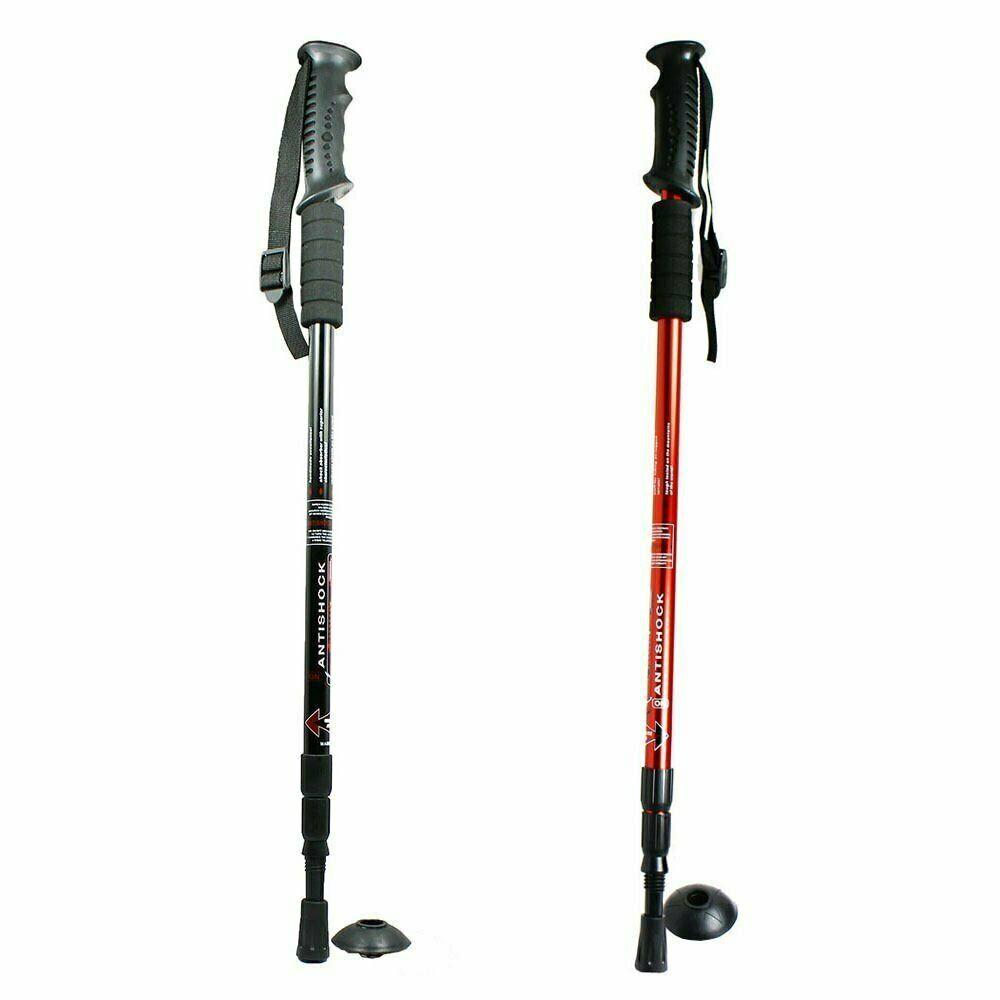 Telescopic 3-Section Antishock Trekking Walking Hiking Stick Pole LED