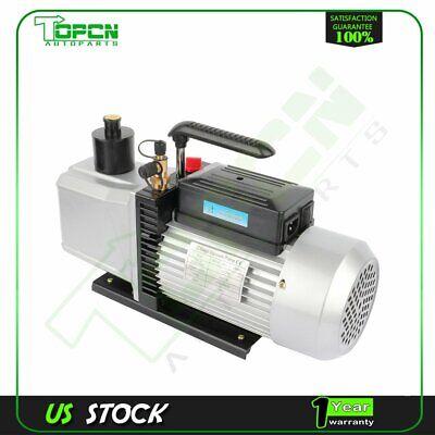 Dual Stage 12 Cfm 1 Hp Black Rotary Vane Deep Vacuum Pump Hvac Ac Air Tool Kit