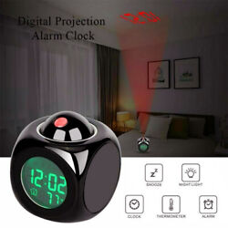 Wall/Ceiling Projection Alarm Clock LED Time Voice Temperature Display Clock