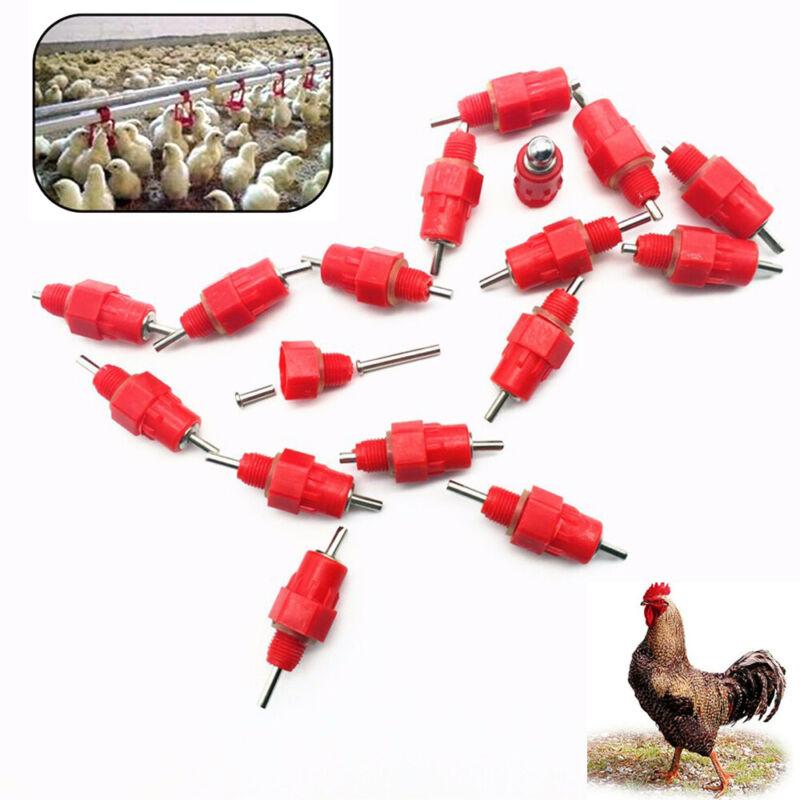 10Pcs Duck Hen Chicken Feeder Drinker Poultry Water Nipples Hanging Screw Farm