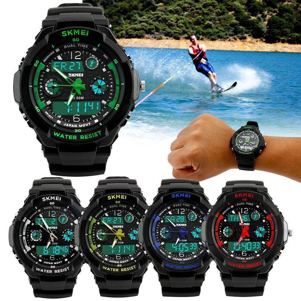 New Mens LED Digital Date Alarm Waterproof Rubber Sports Arm