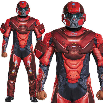 MENS RED HALO SPARTAN LOCKE COSTUME DELUXE MUSCLE CHEST COSPLAY FANCY - Halo Red Spartan Kostüm