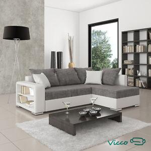 Vicco Sofa Couch P-Ecke Houston ink Schlaffunktion 226x160cm weiß/grau