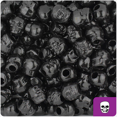 150 Black Opaque 11mm Halloween Skull Pony Beads Made in the USA