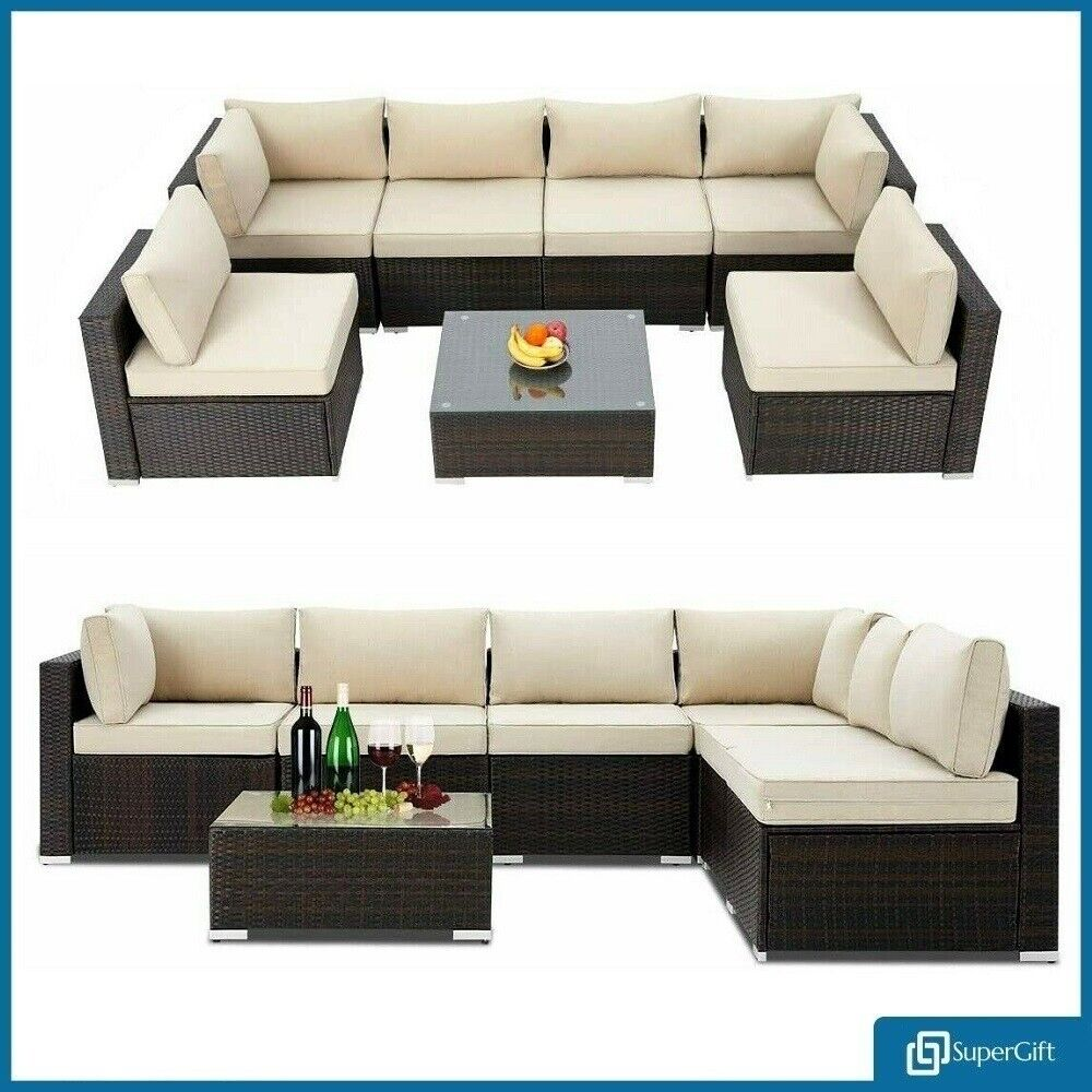 Garden Furniture - Rattan Garden Sofa Furniture Set Patio Conservatory 6 Seater Armchairs + Table