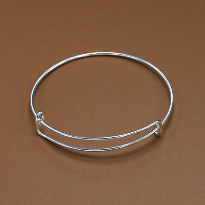Bulk Lot Silver Expandable Bangle Bracelet Wire Wrap Adjustabl Loop Craft - Diy Wire Bracelet