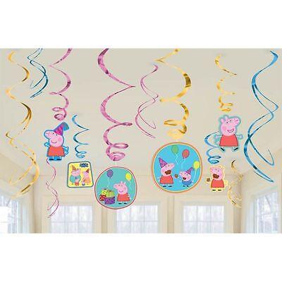 New Peppa Pig 12pc Swirl Decoration Kit Birthday Party Supplies Favor Decoration - Peppa Pig Birthday Supplies