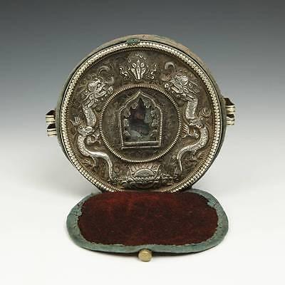 ANTIQUE GAO PRAYER BOX SILVER ASHTAMANGALA TSATSA FIGURE NEPAL TIBET BUDDHIST
