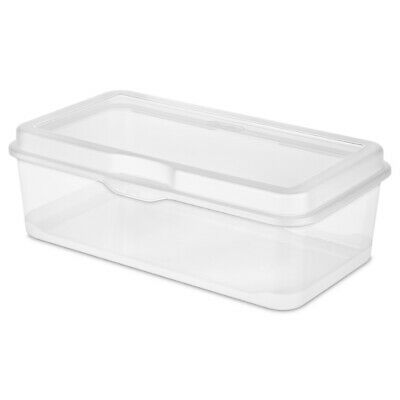 Sterilite 1805 Large Flip Top Storage Container Box Organizer Hinged Lid, Clear Hinged Storage Container