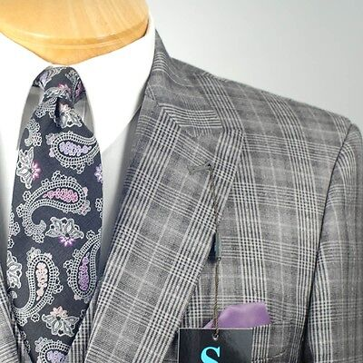 44R Steve Harvey 3 Piece Gray Plaid Suit   44 Regular   Sb15