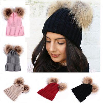 Womens Laides Girls Winter Cute Warm Crochet Fur Pom Bobble Knit Hat Beanie Cap