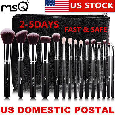 US Delivery MSQ Professional 15PCs Makeup Brush Set Foundation Cosmetic Tool Bag