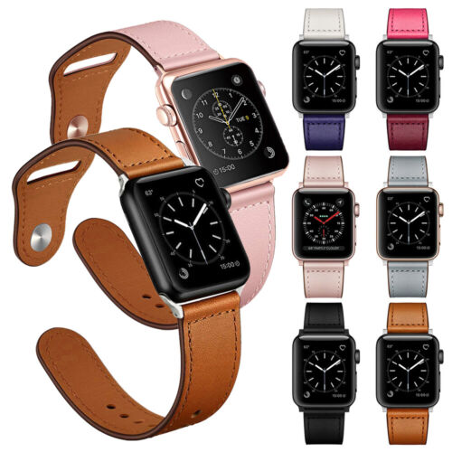 40/44mm Genuine Leather iWatch Band Strap for Apple Watch Se