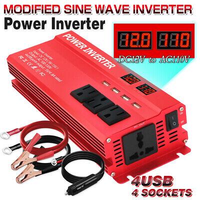 5000w Peak Car Vehicle Power Inverter Converter DC 12v to AC 110v 4 socket 4 USB