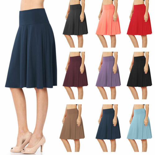 Womens High Waist Fold Over Knit A-Line Flared Midi Swing Skirt