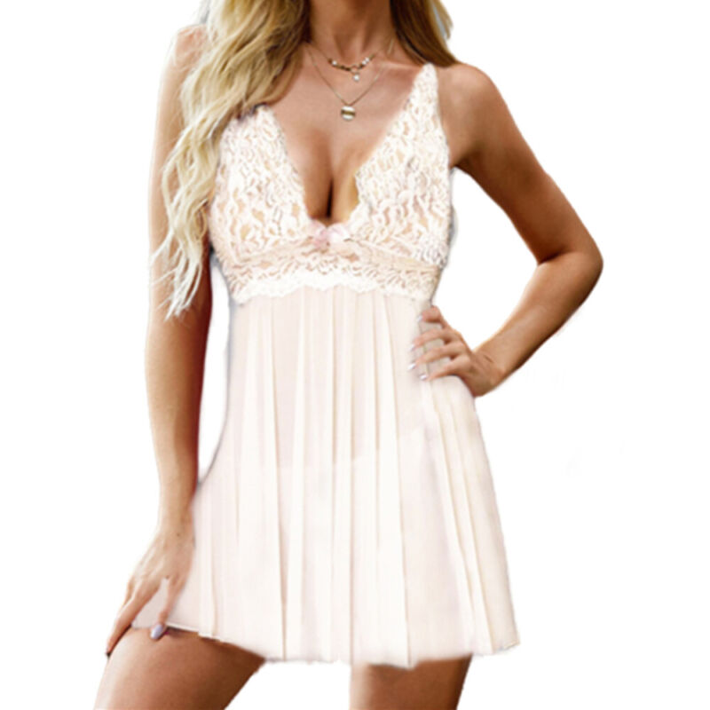Women Lace Chemise Sexy V Neck Lingerie Babydoll Underwear Nightdress Nightwear Clothing, Shoes & Accessories