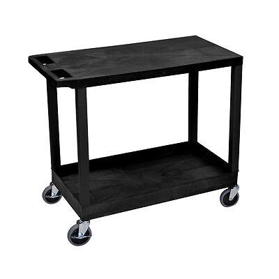 Luxor 32x18 Heavy Duty One Tubone Flat Shelves Utility Cart - Black