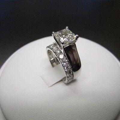 1.50 Ct Princess Cut D/VVS1 Diamond Bridal Set Engagement Ring 14K White Gold Fn (Diamond Engagement Bridal Ring)
