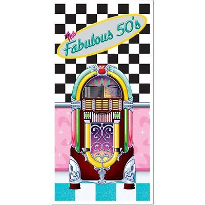 FABULOUS 1950s Sock Hop GREASE Party Decoration JUKEBOX DOOR Wall COVER MURAL - Grease Party Decorations