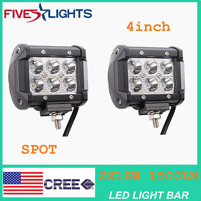 "2 X Light Bar 4"" LED 18W Spot Motorcycle Work ATV Off-Road Fog Driving Cree UTV"