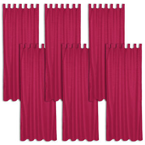 6x rideau passants polyester 245x137cm voilage occultant 95 bordeaux ebay. Black Bedroom Furniture Sets. Home Design Ideas