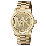 NEW Michael Kors Runway Gold Pave Stainless Crystal Logo MK5706 Women's Watch