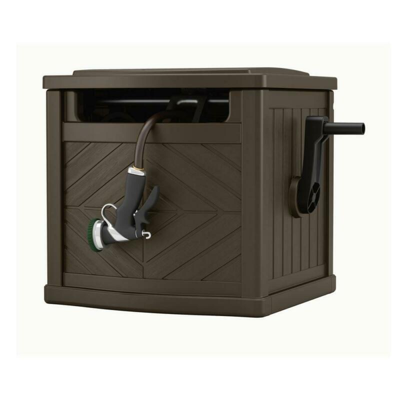 Outdoor Hideaway Water Reel Container 150 Ft Portable Garden Hose Storage Box