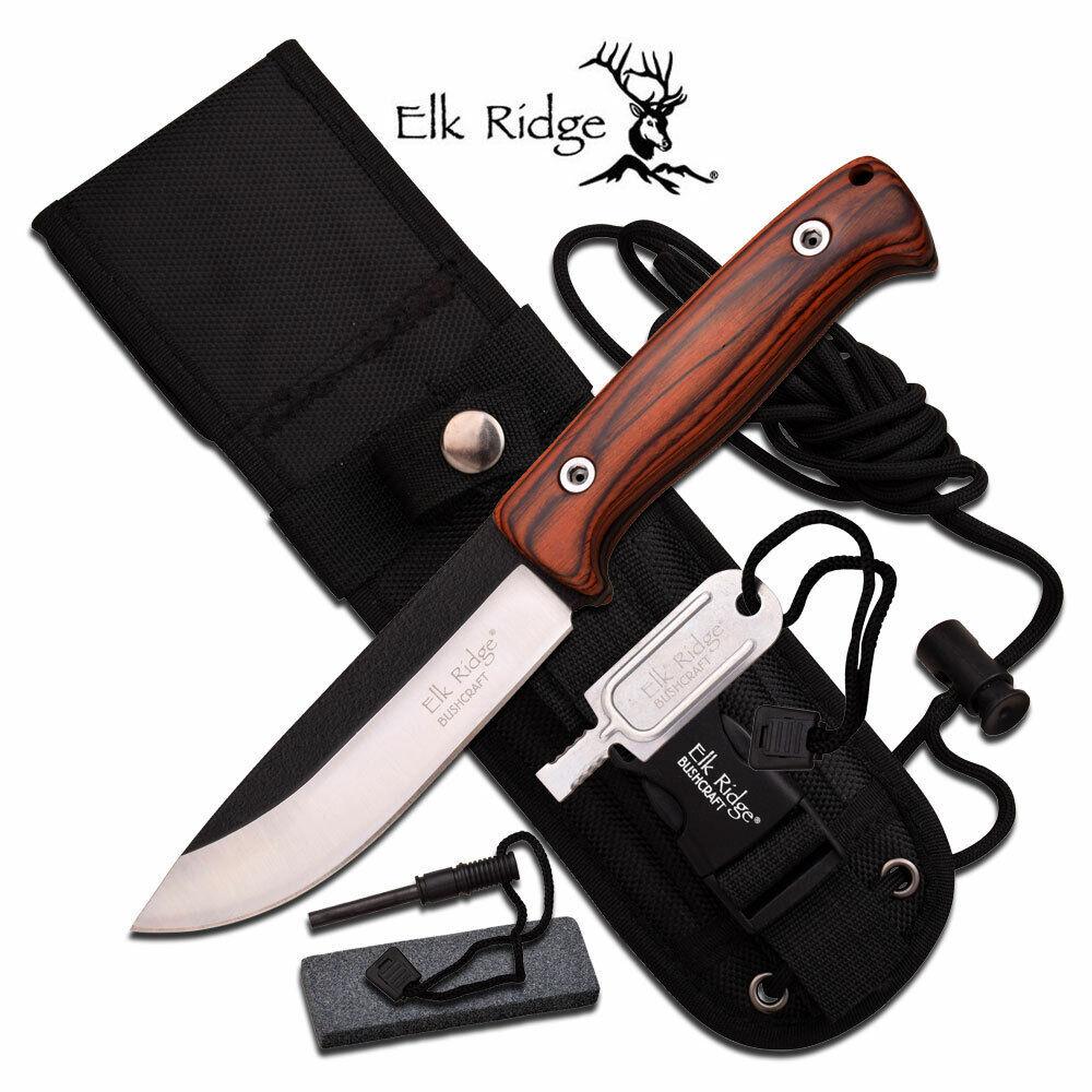 Elk Ridge Bushcraft Hunter Bowie Knife 5mm Full Tang Wood Fi