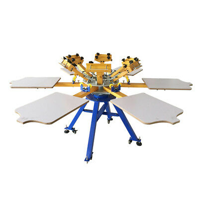 6 Color 6 Station Silk Screen Printing Machine Press T-shirt Printer Carousel
