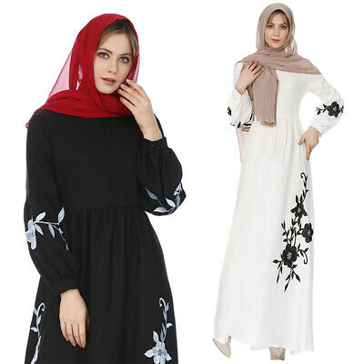 Muslim Women Maxi Dress Black Embroidery Islamic Long Sleeves Abaya Kaftan Robe