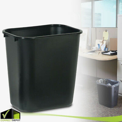 Recycle Trash Cans (PLASTIC TRASH WASTE CAN Rubbermaid Garbage Recycle Bin 7 Gal Black Home)