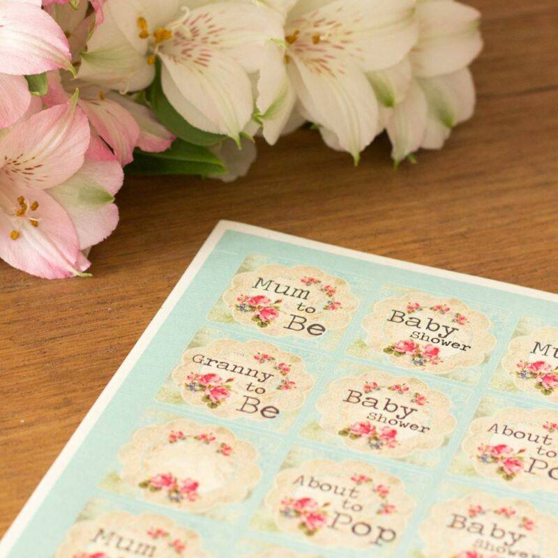Baby Shower Craft Craft Stickers | Floral Mum to Be Favours Scrapbook x40