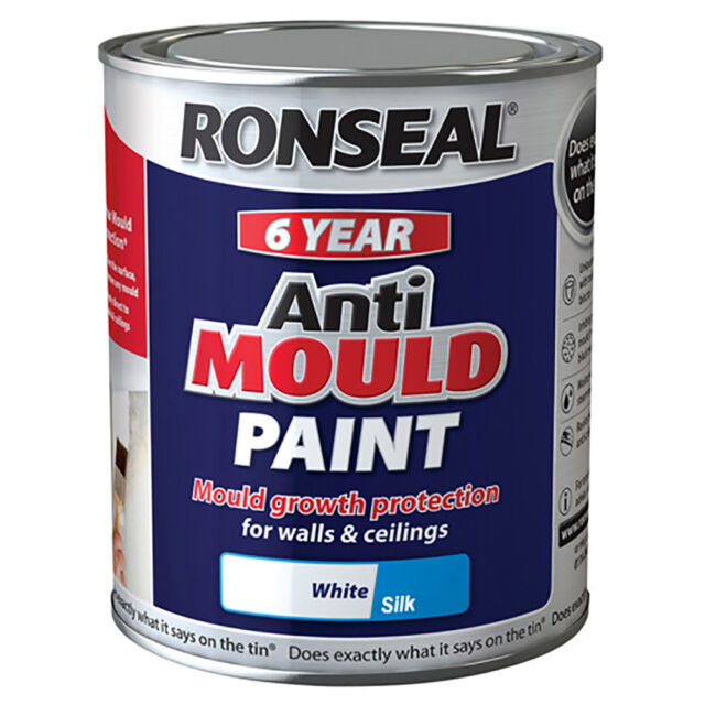 Ronseal 6 Year Anti Mould White Silk Paint for Walls and Ceilings 750ml