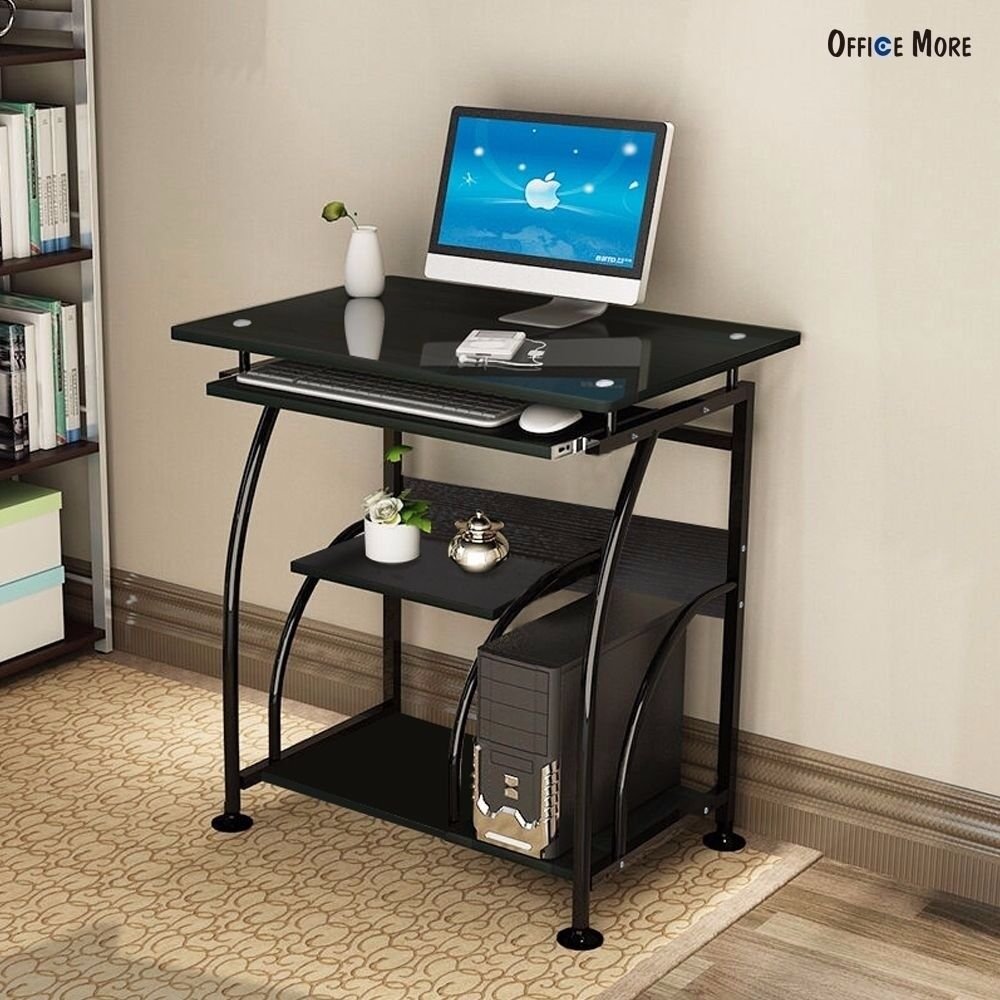 Pc Corner Computer Desk Home Office Laptop Table Black Workstation Furniture