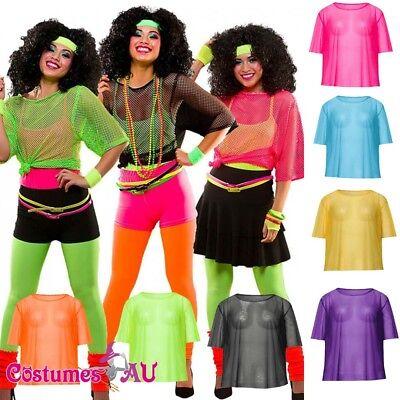 Ladies 80s String Vest Mash Top Net Punk Rocker Fishnet Rockstar 1980s - Female Rocker Costume