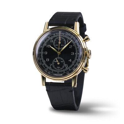 uartz Mechanic Chronograph Steel Black Gold Men's Watch (Navy Und Gold)