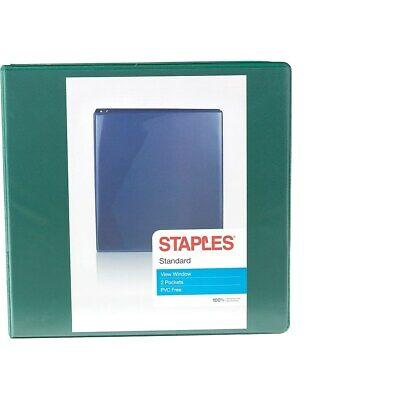 Staples Standard 3-inch D-ring Binder Green 26354 110080