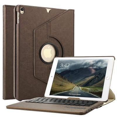 Ipad Mini 4  leder Case 360 Grad Cover Hülle mit Bluetooth Tastatur Qwertz Braun