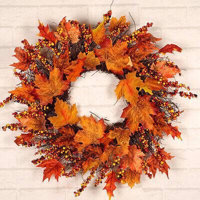 45CM Halloween Decor Fall Door Pumpkin Wreath Autumn Color Maple Leaf Garland//