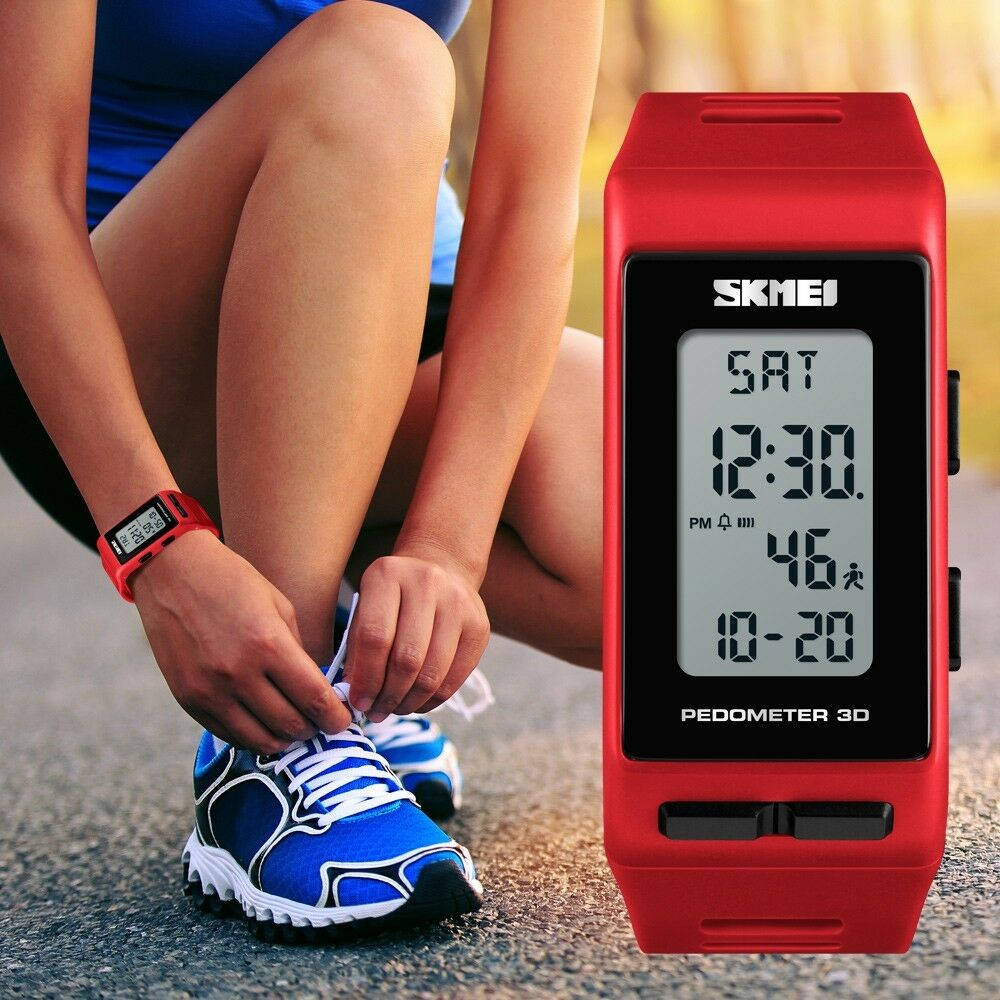 SKMEI Men Women Sport Pedometer LED Digital Step Walking Wat
