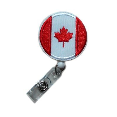 Cute Retractable Applique Canada Flag Reels ID Clip Card Police Badge Holders, used for sale  China