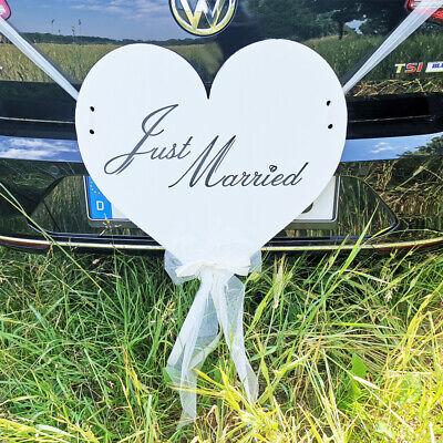 Autodeko Herz Just Married, Auto Deko für das Brautauto an der Hochzeit