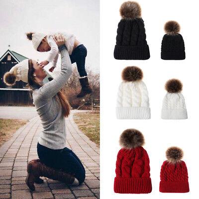 Women Kids Baby Mom Warm Winter Knit Beanie Fur Pom Pom Hat Crochet Ski Ball Cap - Infant Ball Caps