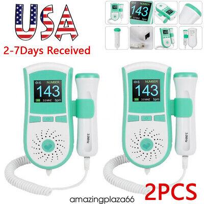 2pcs 3.0mhz Prenatal Fetal Doppler Baby Heart Monitor Ultrasonic Detector Usa Ce