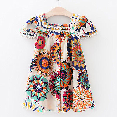 Boho Toddler Baby Kids Girls Cap Sleeve Ruffle Button Dress Beach Party Dresses](Boho Girls Dresses)