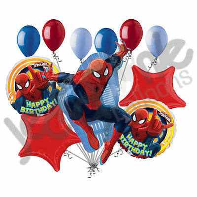 11 pc Spiderman Happy Birthday Balloon Bouquet Party Decoration Comic Super Hero