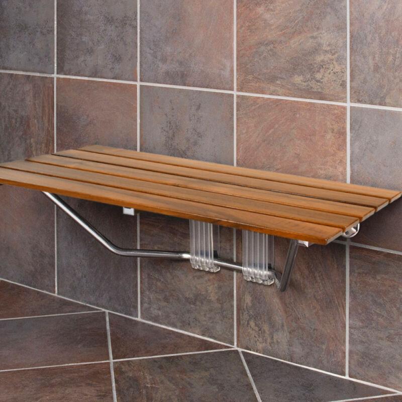 "Clevr 36"" ADA Compliant Double Seat Teak Wood Folding Shower Bench Coated Modern"
