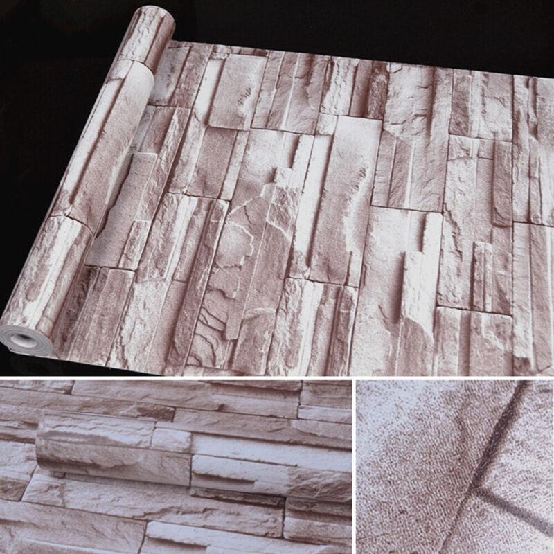 3D Self Adhesive Wallpaper Roll Stone Brick Waterproof Contact Paper PVC