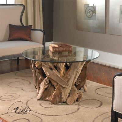 Teak Driftwood Glass Top Cocktail Coffee Table Beach House Coastal